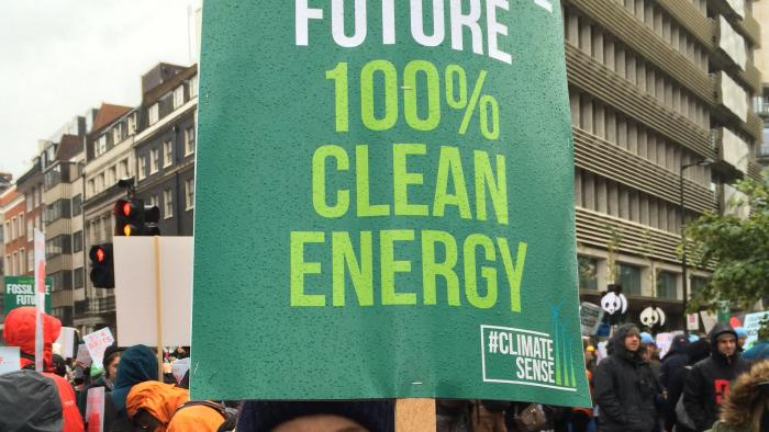Fossil Free Future Banner on Climate Change March November 29th 2015
