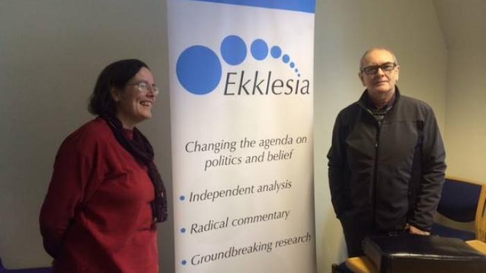 Ekklesia COO Virginia Moffatt & Associate Vaughan Jones with the Ekklesia Banner